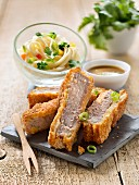 Tonkatsu,fried breaded pork with Asian noodles