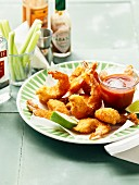 Breaded gambas fritters,spicy ketchup sauce