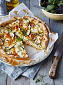 Goat's cheese,courgette and tuna quiche