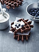 Chocolate wafles,crème fraîche and blueberries