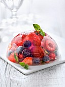 Summer fruit mint tea jelly dome