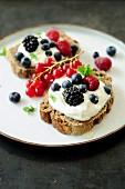 Cottage cheese,honey and summer fruit on sliced bread
