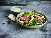 Roast beef and cranberry salad with blue cheese sauce