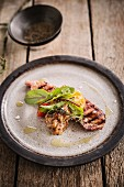 Grilled turkey escalope with spelt risotto