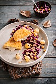 Chicken and Brie Cordon-bleu,red cabbage ,sweet corn and grelot onion salad