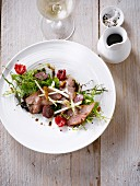 Marinated duck and raspberry mixed salad,balsamic and green apple vinaigar
