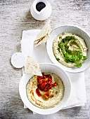 Hummus with coriander and hummus with confit peppers