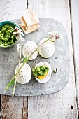 Hard-boiled eggs with herby mayonnaise