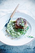 Tournedos and rocket lettuce and blue cheese mashed potatoes