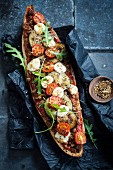 Courgette,tomato and mozzarella pizza-style baguette