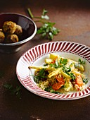 Semoule with vegetable,parsly and turkey meatballs