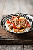 Basmati rice with sauteed beef,onions and peppers