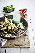 Fregola salad with pomegranate seeds and grilled aubergines