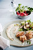 Cold pork fillet, white bean hummus and a radish and mushroom salad