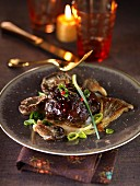 Pork's cheeks with Vermouth,mushrooms and thinly sliced leeks
