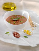 Cold tomato soup with flaked tuna ,hard-boiled egg and diced Serrano ham