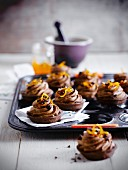 Chocolate mousse and orange zest tartlets