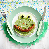 Funny face mashed broccolis and sausage