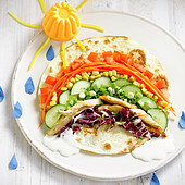 Rainbow-shaped vegetable wrap