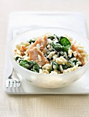 Risotto with spinach and turkey