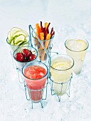 Various fresh fruit juices