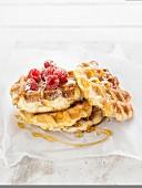 Liège waffle with raspberries and honey