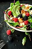 Avocado,summer fruit and breaded chicken salad