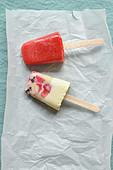 Vanilla-summer fruit ice pop and a strawberry ice pop