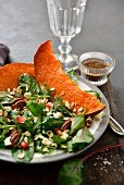 Roasted pumpkin,pecan and pomegranate seed mixed salad