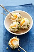 Lychees lollies with dried apricots, white chocolate and pistachios