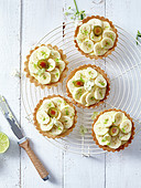 Lime curd and banana tartlets