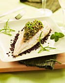 Hake fillet with red rice and samphire pesto