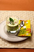 Cream of courgette soup with basil