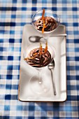 Chocolate mousse made from nougat chocolate with caramel