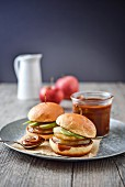 Sweet burgers with cooked and raw apples and caramel