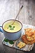 Courgette soup with mint and chive scones