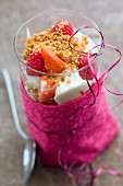 Crumble-style fromage blanc and fresh fruit puddings