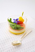 Panna cotta with gorgonzola and summer vegetables
