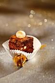 Chocolate and macadamia nut brownie bite