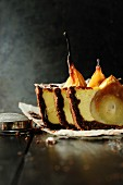 Chocolate shortcrust pastry with sunken pears and mascarpone
