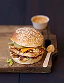 Chicken fillet burger with cashew sauce