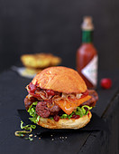 Merguez sausage burger
