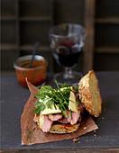 Duck fillet and foie gras burger