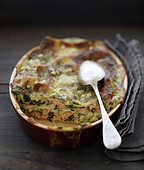 Curried spinach and salmon lasagnes