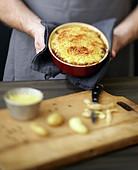 Gratin mit Geflügelleber und Rattes-Kartoffeln mit Balsamico