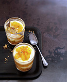 Caramelized mango and pound cake crumble Verrine with passion fruit sauce
