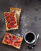 Strawberry-rhubarb shortbread pie with balsamic syrup