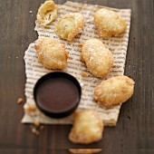 Banana fritters with choco-coconut sauce