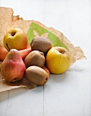 Fruit and vegetable on a brown paper bag