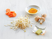 Ingredients for bean sprouts with vegetables and turmeric